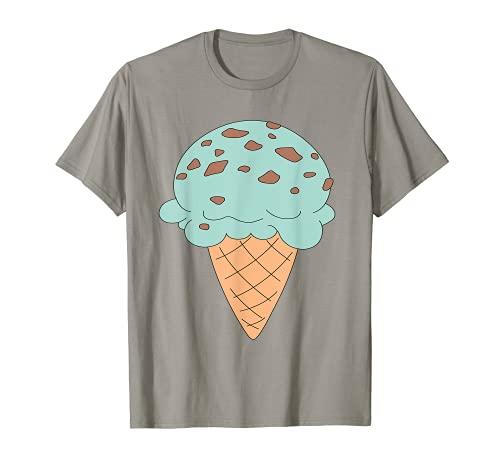Cono de helado de chocolate menta con chip de dibujos animados Camiseta