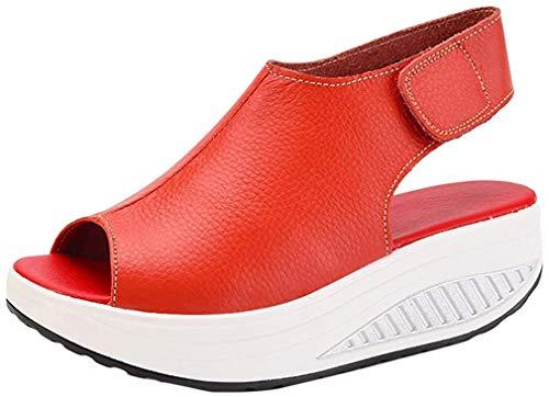 DAFENP Sandalias Mujer Plataforma Cuero Cuña Confort Peep Toe Tacón Zapatos Para Caminar,LX908-1-Red-EU39