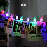 FENGZE Soporte De Clip De Fotos LED Cadena Para Navidad, Fiesta De Año Nuevo, Boda, Decoración Del Hogar RGB