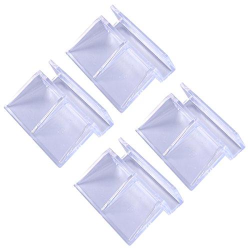 POPETPOP 4 Stücke 6mm Acryl Aquarium Clips Klar Kunststoff Glasdeckelbretter Halterung Regale Support Halter