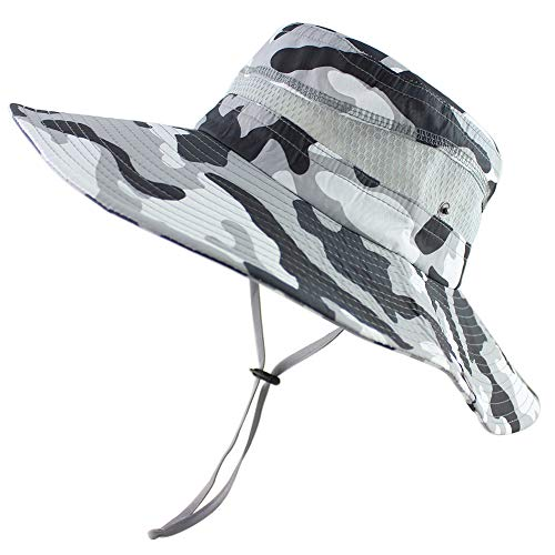 Summer Fishing Sun Boonie Hat Camouflage Outdoor UV Protection Large Brim Bucket Safari Cap Breathable Mesh