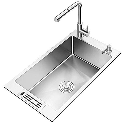 Keuken wastafels bad armaturen badkamer wastafel douchebak afwasbak roestvrij staal wastafel schoonmaken de gootsteen (kleur: Zilver, Maat : 45Cm)