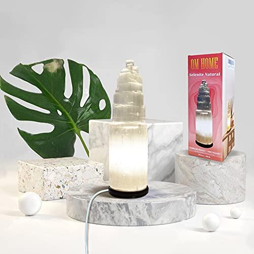 Lampara de sobremesa de Selenita Natural 30cm decoracion ideal artesanal [Clase de eficiencia energética A]