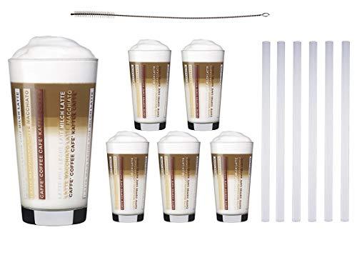 6 Kaffeegläser 370ml Latte Macchiato Gläser Sestr + 6 Glas Trinkhalme 23 cm