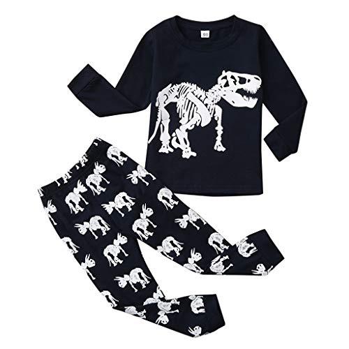 Pigiami Bambino Dinosauro 2-7 Anni Stampa Camicia Da Notte A Maniche Lunghe Pantaloni + Magliette Pigiamini In Cotone Morbido Caldo Tute Due Pezzi Primavera Autunno Invernali (6Anni, Grigio)