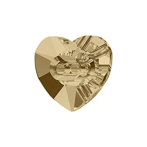 スワロフスキー (R) 正規品 クリスタル ボタン ハート型 オーロラ加工 48個入り 12×10.5mm #001GSH ゴールデンシャドー 501752948