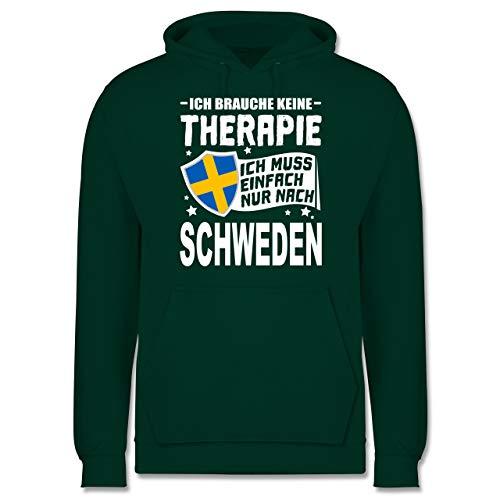 Shirtracer Länder - Ich Brauche Keine Therapie Ich muss einfach nur nach Schweden - weiß - L - Dunkelgrün - Statement - JH001 - Herren Hoodie und Kapuzenpullover für Männer