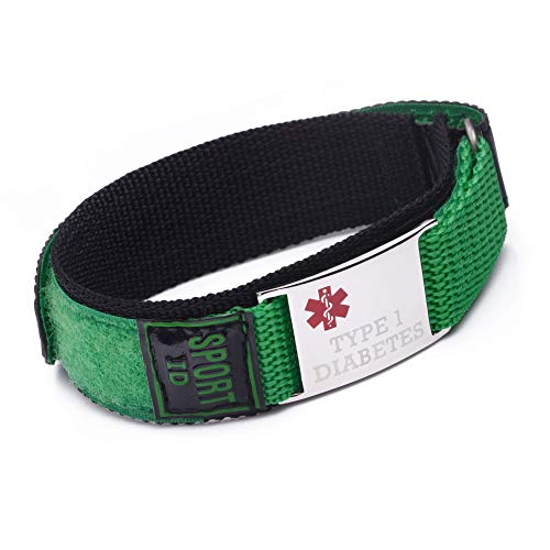 linnalove Pulsera de identificación médica deportiva para mujer, banda de nailon, impermeable, transpirable 8.5 IN verde