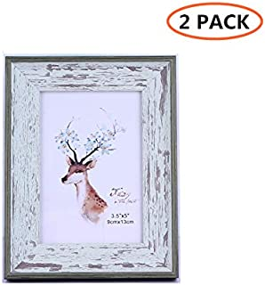 CY craft 3.5x5 Turquoise Blue Collage Picture Frames,Distressed Wood Photo Frame Display for Tabletop,Pack of 2