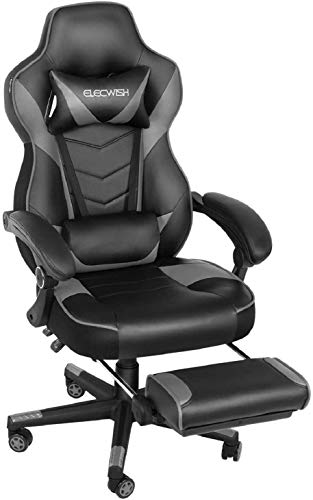 ELECWISH Ergonomic Computer Gaming Chair, PU Leather High Back Office Racing Chairs with Widen Thicken Seat and Retractable Footrest and Lumbar Support, Large