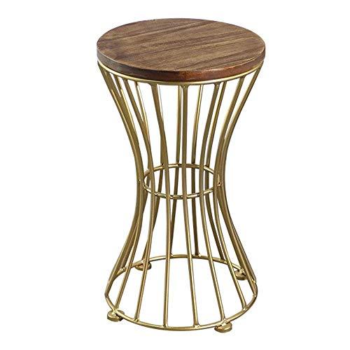 Axdwfd Table d'appoint en bois massif + table en métal, salon, canapé, chambre à coucher, table basse, petite table ronde élégante 2 tailles (taille : 35 * 73cm)