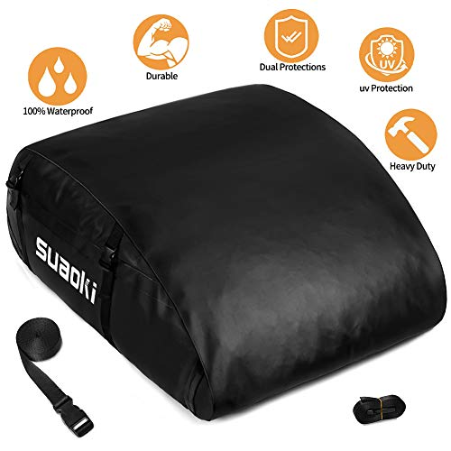 MIDABAO Car Roof Bag Top Carrier Cargo Storage Rooftop Luggage Waterproof PVC Soft Box Luggage Outdoor Water Resistant for Car with Racks,Travel Touring,Cars,Vans, (15 Cubic Feet)