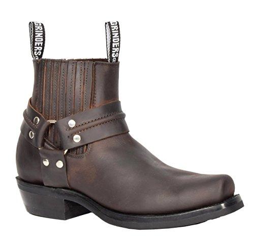 House of Luggage Herren Leder überstreifen Chelsea Stiefel Cowboy Stil Quadrat Zehe Knöchel Schuhe HLG07REL (EU 43, Braun)