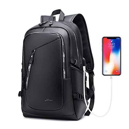 Leather Laptop Water Resistant Backpack for Women and Men
