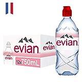 Evian 61287, Agua Mineral Natural con Tapón Sport, 75 cl, 12 Unidades