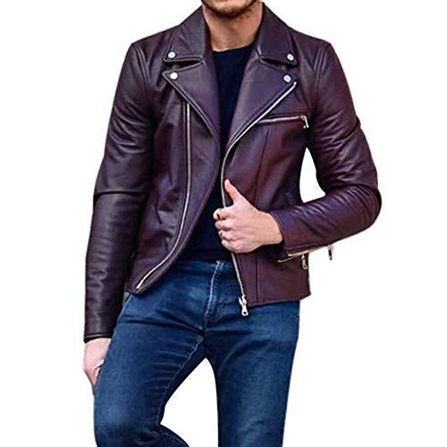 HaiDean Chaqueta De Cuero para Hombres Faux Leather Oversize Modernas Casual PU Abrigo De Cuero Cremallera Chaqueta Biker Moda para Hombres