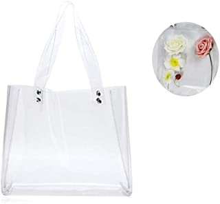 Enkrio Clear Jelly Handbags Waterproof Stadium Security PVC Shoulder Transparent Tote Bag for Shopping Beach Travel