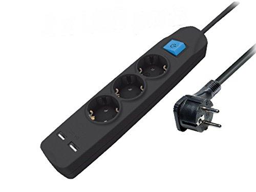 3-fach Steckdosenleiste mit 2 USB-Ladebuchsen und flacher Stecker, mit Schalter Kindersicherung 3m schwarz