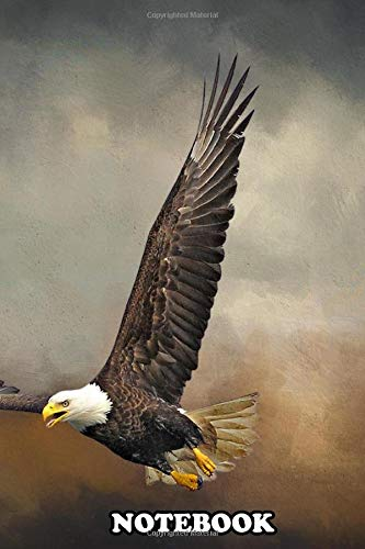 """Notebook: Bald Eagle Flying In A Storm Wall Art Wilflife Photogr , Journal for Writing, College Ruled Size 6"""" x 9"""", 110 Pages"""
