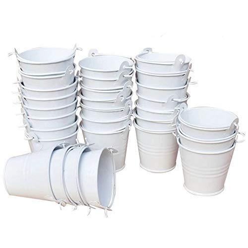 XYJIE 30 cubos de metal de lata para dulces y recuerdos, cubos de regalo perfectos para fiestas, dulces, velas votivas, baratijas, plantas pequeñas (blanco)