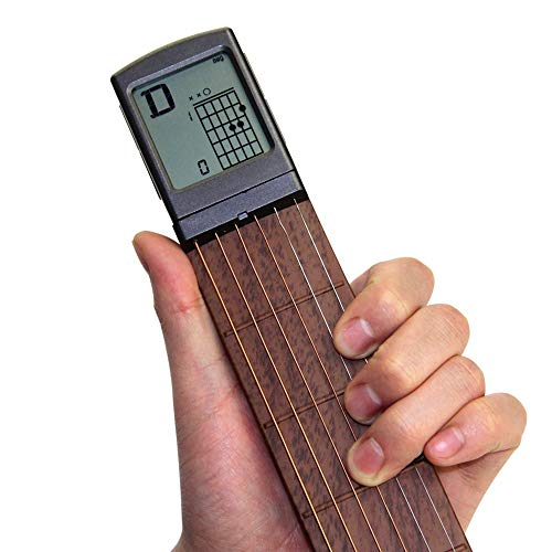 Pocket Guitar Chord Practice Tool, Portable Guitar Neck for Trainer Beginner w/ a Rotatable Chords Chart Screen (Battery Included)