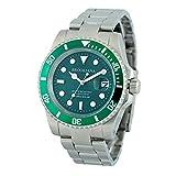 ブルッキアーナ BROOKIANA BA2606 ダイバー メンズ 時計 腕時計 ソーラー クォーツ 防水 (グリーン)