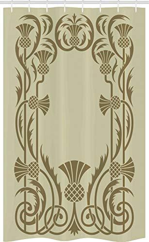 ABAKUHAUS Jugendstil Schmaler Duschvorhang, Botanischer Exotic, Badezimmer Deko Set aus Stoff mit Haken, 120 x 180 cm, Weises Grün Sepia