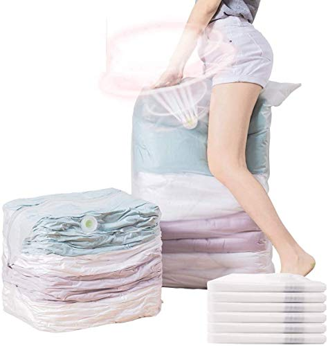 VELMADE Cube Vacuum Storage Bags 6-Pack Jumbo Space Saver Bags for ClothesBeddingDuvetsQuiltsPillowsBlanketsCurtains6 Pcs 315X394X15In