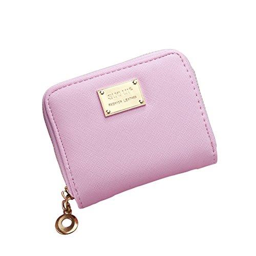 Tinksky Klein Portemonnaie mit Reißverschluss Damen Kleine Geldbeutel PU Leder Brieftasche für Frauen Mädchen (Rosa)