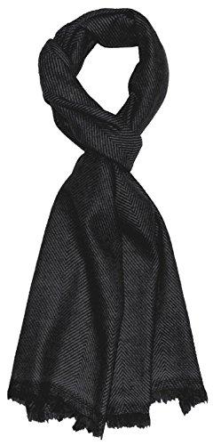 LORENZO CANA Luxus Herrenschal 100% Kaschmir, 30 cm x 180 cm, Schwarz flauschig leichter Kaschmirschal Kaschmirtuch Winterschal aus Naturfaser Maennerschal 7831611