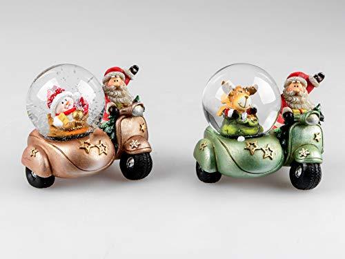 Schneekugel Roller mit Beiwagen Weihnachtsmann 10cm Schüttelkugel Tischdeko - 1 STÜCK (Grün)