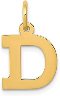 14k Yellow Gold Small Block Initial Monogram Name Letter D Pendant Charm Necklace Fine Jewelry Gifts For Women For Her