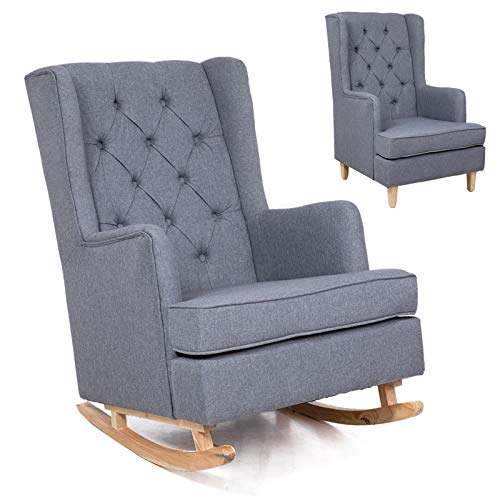 2 in 1 Modern Accent Chair, Living Room Rocking Chair for Nursery, Fabric Upholstered Arm Chairs, 2 Types of Replaceable Chair Legs, Mid Century Retro Glider Rocker Chair