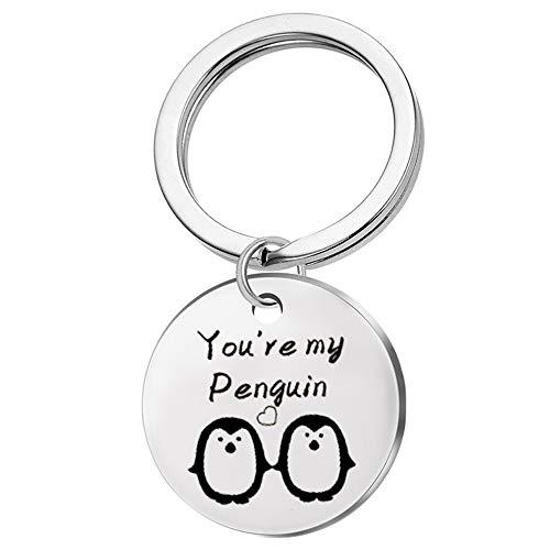Ellepigy Kreative Edelstahl Schlüsselanhänger Pinguin Brief Muster Handtaschen Geldbörse Anhänger Schlüsselanhänger Kette Weihnachtsgeschenk