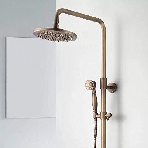 KANJJ-YU Juego de ducha de cobre europeo con cabezal de ducha de baño redondo y ducha de cromo práctico