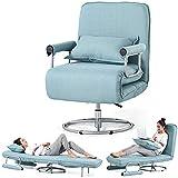 Liziyu Canapé-lit Pliant Fauteuil chauffeuse Convertible 2 en 1 lit de Chaise de Bureau Flax futon Salon plié Chaise 360 ° réglable Support de Chaise pour Bureau Home canapé-lit Simplee, Blue