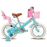 JOYSTAR Little Daisy - Bicicleta infantil de 16 pulgadas para niñas de 4, 5, 6, 7 años, con freno de mano, 16 pulgadas, con ruedas de apoyo, cesta Streamer, color azul