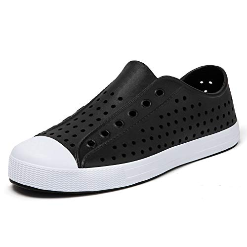 SAGUARO Women's Garden Shoes Lightweight Men's Slip-On Garden Clogs Breathable Water Sneaker Beach Sandals Black 8 Women/6 Men