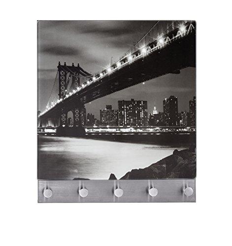 Perchero Mural Magnético 5 Ganchos Manhattan Bridge, Vidrio Endurecido, Multicolor, 34x30x3 cm