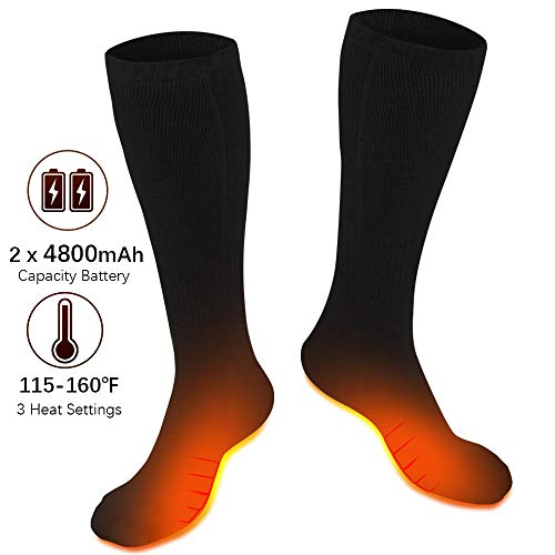 XBUTY Heated Socks for Men/Women - Upgraded Rechargeable Electric Socks with 4800mAh Large Capacity Battery- Up to 16 Hours of Heat, Upgraded Heating Element up to 160℉, 3 Heat Settings, Black