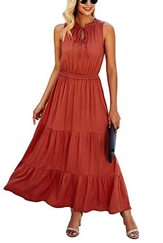 KIRUNDO 2021 Summer Women's Sleeveless Maxi Dress Solid Color Round Neck Tie Neck Dress High Waist Ruffle Hem A-Line Long Dress (Medium, Brick Red)
