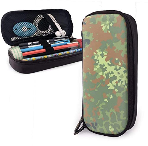Federmäppchen an Bundeswehr Flecktarn Camo Pencil Case Pen Case Pencil Pouch Stationery Organizer Multifunction Cosmetic Makeup Bag Double Zipper Leather
