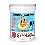 GYMASOL- Cloro 10 ACCIONES, Tabletas 20 Gramos, Especial Mini Piscinas, Bote 1 Kilo