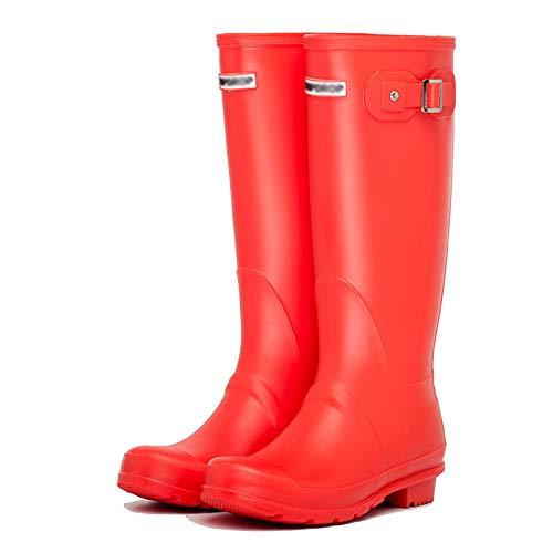 LWZ Botas de Lluvia al Aire Libre para Mujer, 100% Impermeables, Botas Altas, Zapatos de jardín para Caza, Trabajo, Montar, Negro/Rojo/Amarillo