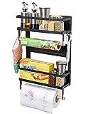 Magnetic Fridge Spice Seasoning Rack Organizer Storage Holder Kitchen, Magnetic Paper Towel Holder