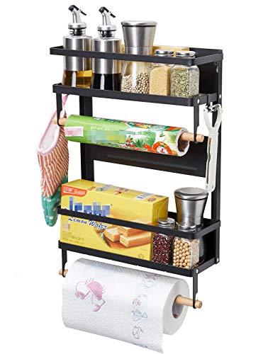 Magnetic Fridge Spice Rack Organizer Storage Holder Kitchen Magnetic Paper Towel Holder Rack for Refrigerator Shelf Storage Hanger Large Black