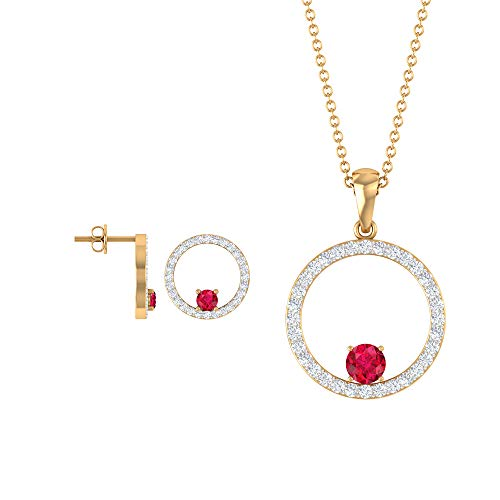 Diamond and Ruby Jewelry - Juego de pendientes y colgante de oro simple (2,50 mm, 4 mm, forma redonda) rojo