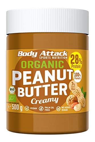 Body Attack Organic Peanut Butter Crunchy, 500g, Bio-Erdnussbutter ohne Palmöl, Erdnussmus vegan, ungesüßt, 28% Protein