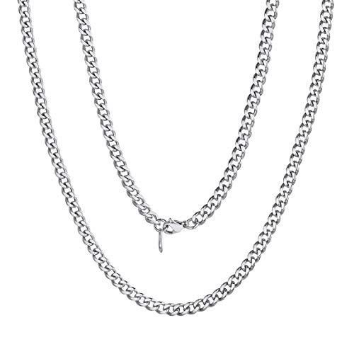 ChainsPro - Collar de cadena cubana Miami para hombre, 6/9/14 mm de ancho, 45,7 cm, 50,8 cm, 55,8 cm, 60,9 cm, 66,04 cm, 71,12 cm, 76,2 cm, color dorado/acero/negro (con caja de regalo)