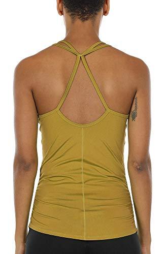 icyzone Damen Sport Yoga Tank Top - Fitness Gym Ärmelloses Shirt Trainings Top (M, Ginger)